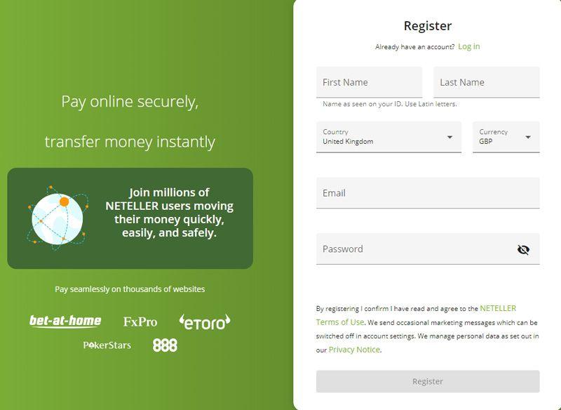 Neteller - registration guide: step 2